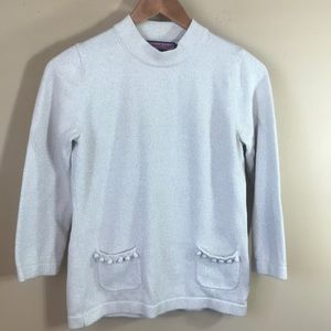 Vineyard Vines cream with sparkle silver top
